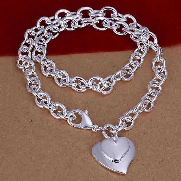Vienna Jewelry Sterling Silver Heart Pendant Drop Necklace