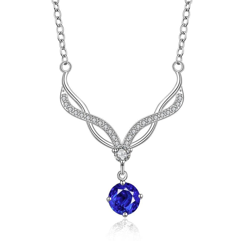 Vienna Jewelry Sterling Silver Modern Classical Mock Sapphire Necklace