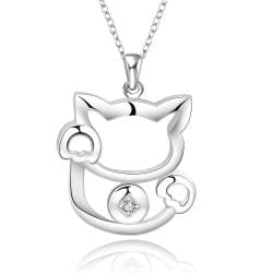 Vienna Jewelry Sterling Silver Hollow Kitty Cat Necklace - Thumbnail 0