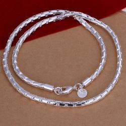 Vienna Jewelry Sterling Silver Classic Thin Cut Chain Necklace - Thumbnail 0