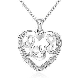 Vienna Jewelry Sterling Silver Love Ingrain Heart Shaped Necklace - Thumbnail 0