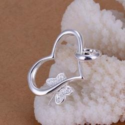 Vienna Jewelry Sterling Silver Heart Dangling Charms Pendant - Thumbnail 0