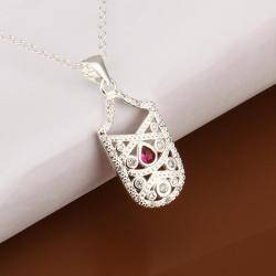 Vienna Jewelry Sterling Silver Petite Ruby Gem Laser Cut Emblem Drop Necklace - Thumbnail 0