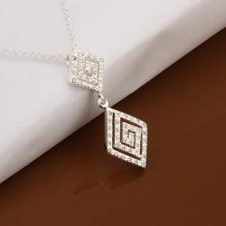 Vienna Jewelry Sterling Silver Duo Curved Diamond Shaped Drop Necklace - Thumbnail 0