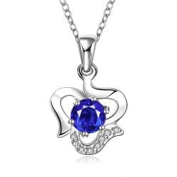 Vienna Jewelry Sterling Silver Curved Heart with Sapphie Gem Necklace - Thumbnail 0