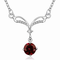 Vienna Jewelry Sterling Silver Classical Curved Ruby Red Necklace - Thumbnail 0
