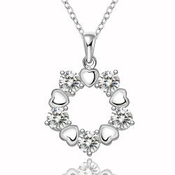 Vienna Jewelry Sterling Silver Floral Petal Surronding Circular Emblem Necklace - Thumbnail 0