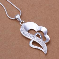 Vienna Jewelry Sterling Silver Curved Heart Shaped Drop Necklace - Thumbnail 0