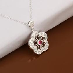 Vienna Jewelry Sterling Silver Petite Ruby Gem Laser Cut Clover Necklace - Thumbnail 0
