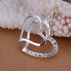 Vienna Jewelry Sterling Silver Duo Hearts Pendant - Thumbnail 0