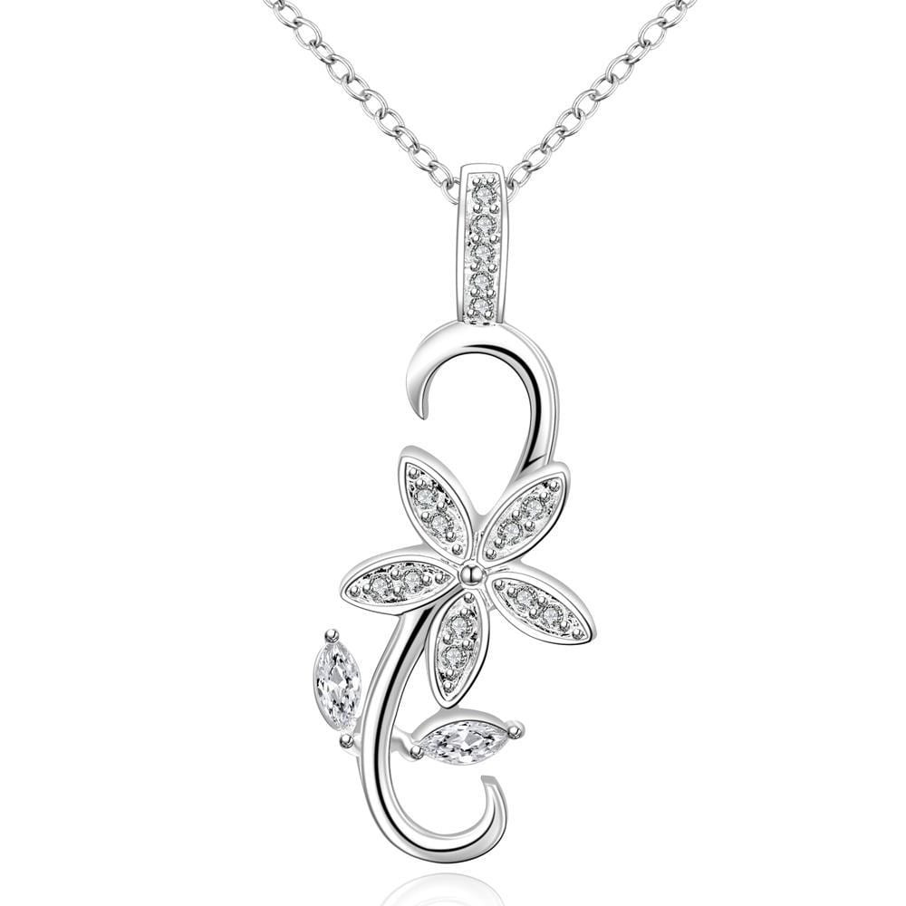 Vienna Jewelry Sterling Silver Curved Floral Drop Necklace