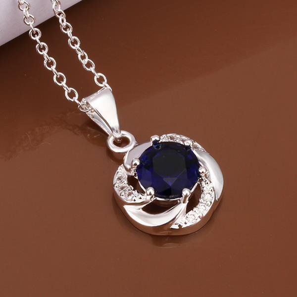Vienna Jewelry Sterling Silver Curved Mock Sapphire Emblem Necklace