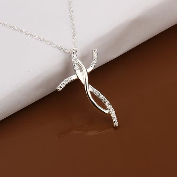 Vienna Jewelry Sterling Silver Curved Drop Emblem Necklace