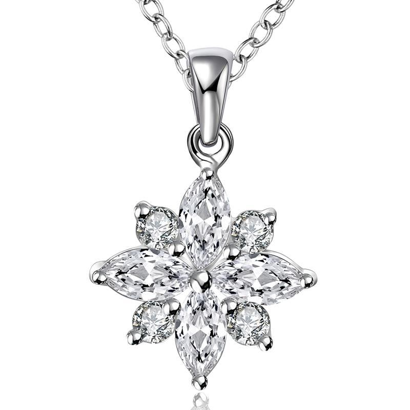 Vienna Jewelry Sterling Silver Crystal Filled Snowflake Pendant Necklace