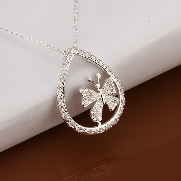 Vienna Jewelry Sterling Silver Petite Clover Emblem Drop Necklace