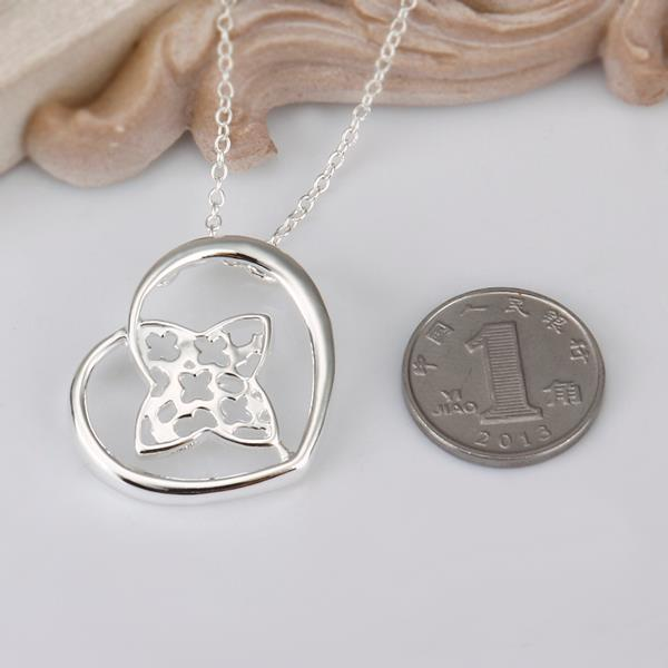 Vienna Jewelry Sterling Silver Clover Within Heart Drop Necklace