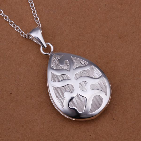 Vienna Jewelry Sterling Silver Abstract Curved Emblem Drop Necklace