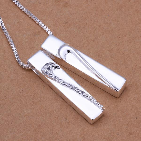 Vienna Jewelry Sterling Silver Duo Vertical Drop Necklace