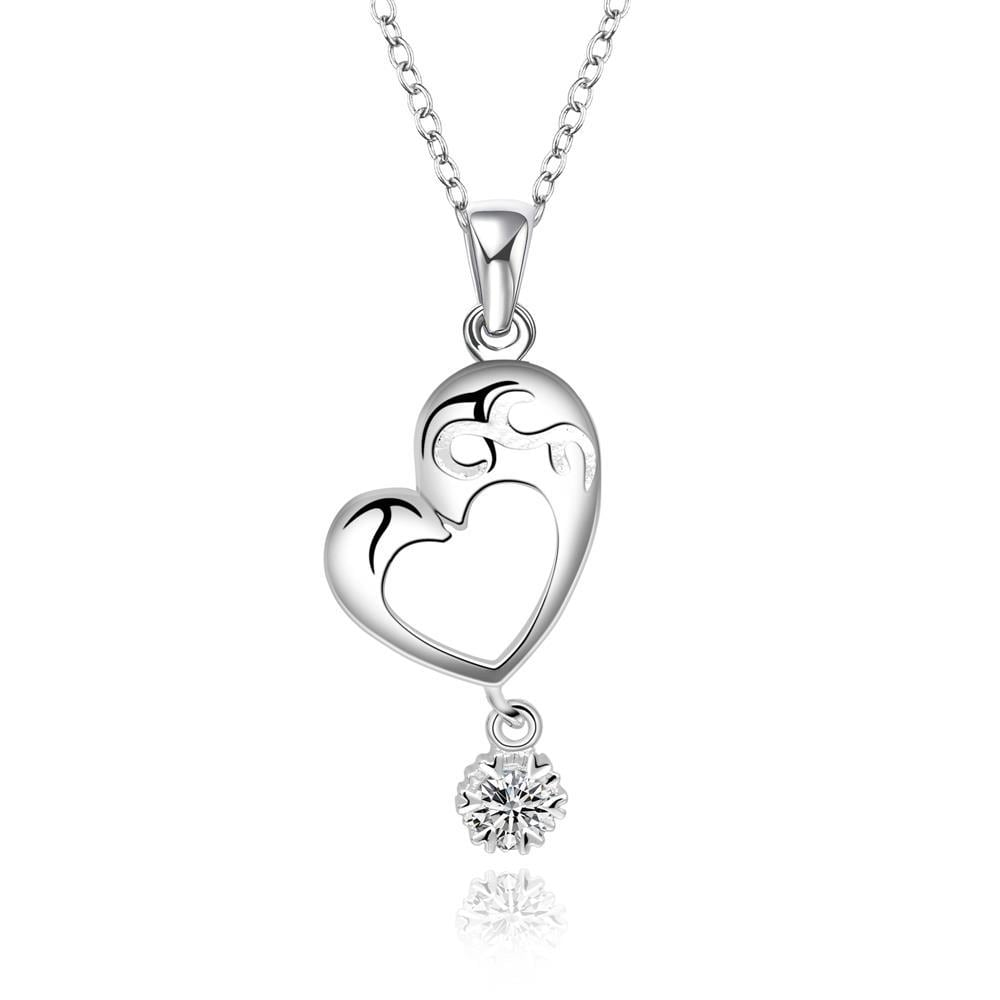 Vienna Jewelry Sterling Silver Hollow Heart with Crystal Drop Necklace