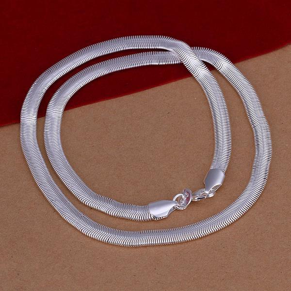 Vienna Jewelry Sterling Silver Modern Sleek Chain Necklace