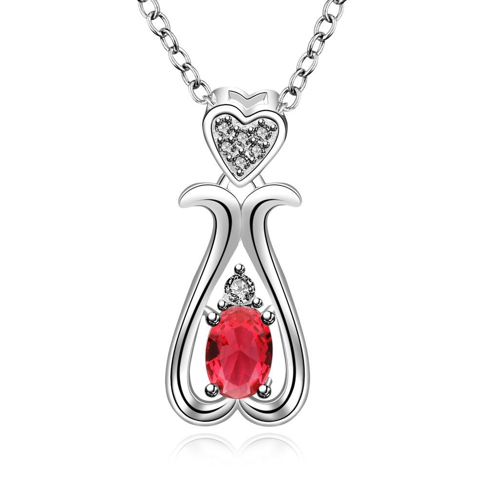 Vienna Jewelry Sterling Silver Ruby Gem Harp Shaped Drop Necklace