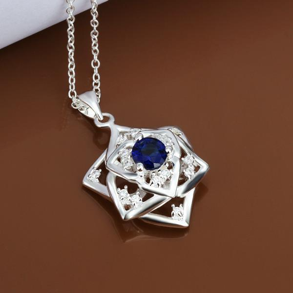 Vienna Jewelry Sterling Silver Mock Sapphire Gem Star Emblem Necklace