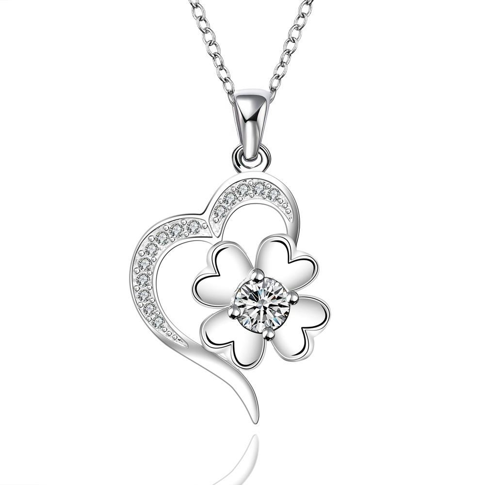 Vienna Jewelry Sterling Silver Curved Heart & Clover Drop Necklace
