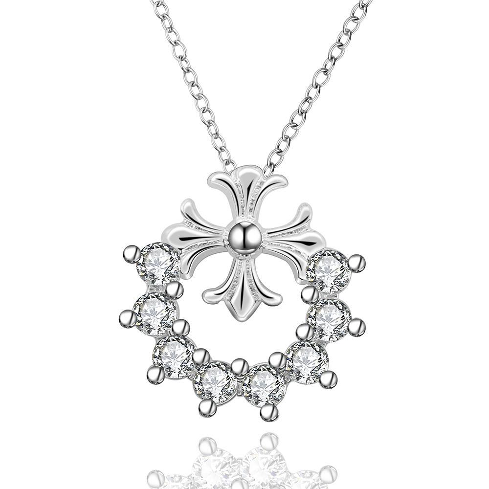 Vienna Jewelry Sterling Silver Crystal Clover Stud Drop Necklace