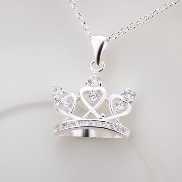 Vienna Jewelry Sterling Silver Petite Crown Drop Necklace