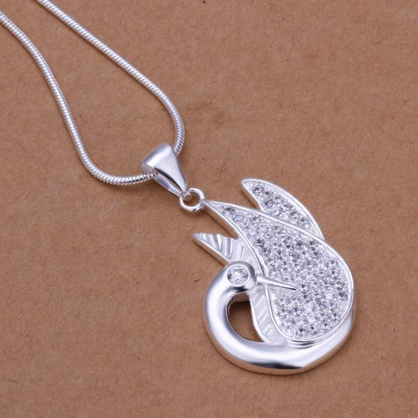 Vienna Jewelry Sterling Silver Blossoming Pendant Drop Necklace