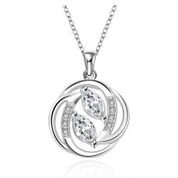 Vienna Jewelry Sterling Silver Circular Curved Emblem Drop Necklace - Thumbnail 0