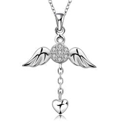 Vienna Jewelry Sterling Silver Butterfly Dangling Love Necklace - Thumbnail 0