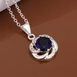 Vienna Jewelry Sterling Silver Curved Mock Sapphire Emblem Necklace - Thumbnail 0