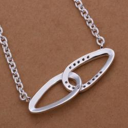 Vienna Jewelry Sterling Silver Curved Duo Emblem Abstract Necklace - Thumbnail 0