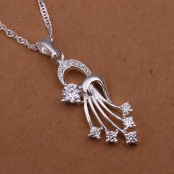 Vienna Jewelry Sterling Silver Spiral Emblem Drop Necklace - Thumbnail 0