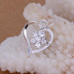 Vienna Jewelry Sterling Silver Petite Crystal Heart Pendant - Thumbnail 0