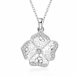 Vienna Jewelry Sterling Silver Laser Cut Clover Pendant Drop Necklace - Thumbnail 0