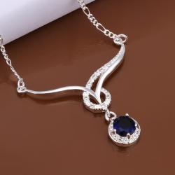 Vienna Jewelry Sterling Silver Curved Lining Mock Sapphire Necklace - Thumbnail 0