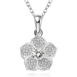 Vienna Jewelry Sterling Silver Classic Floral Petal Drop Necklace - Thumbnail 0