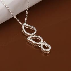 Vienna Jewelry Sterling Silver Trio-Emblem Drop Necklace - Thumbnail 0