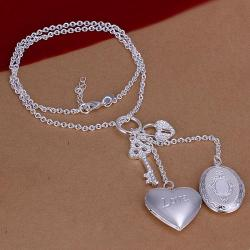 Vienna Jewelry Sterling Silver Heart & Pendant Modern Necklace - Thumbnail 0