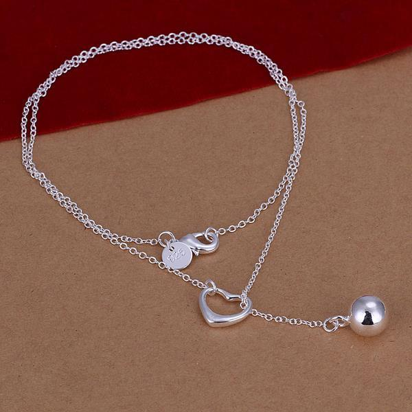 Vienna Jewelry Sterling Silver Pearl Drop & Heart Closure Necklace