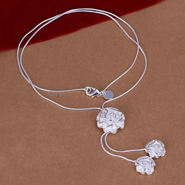 Vienna Jewelry Sterling Silver Trio-Floral Dangling Necklace