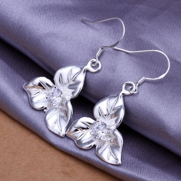 Vienna Jewelry Sterling Silver Tri-Floral Petal Earring