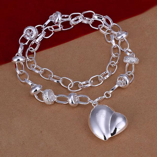 Vienna Jewelry Sterling Silver Abstract Heart Pendant Drop Necklace