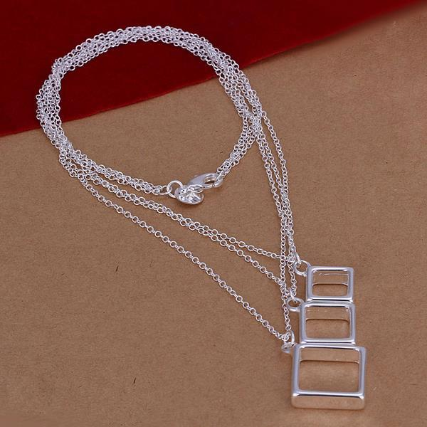 Vienna Jewelry Sterling Silver Trio-Hollow Square Dangling Necklace