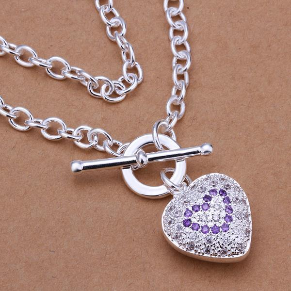 Vienna Jewelry Sterling Silver Purple Citrine Jewels Heart Emblem Necklace