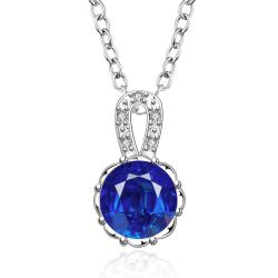 Vienna Jewelry Sterling Silver Mock Sapphire Center Drop Necklace - Thumbnail 0