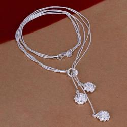 Vienna Jewelry Sterling Silver Trio-Floral Petals Dangling Necklace - Thumbnail 0