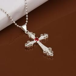 Vienna Jewelry Sterling Silver Petite Ruby Red Cross Drop Necklace - Thumbnail 0